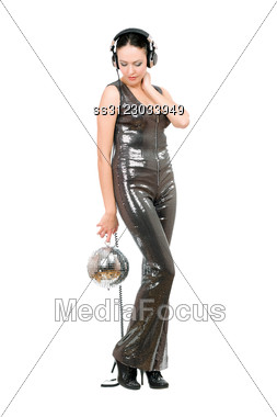 Young Woman With A Mirror Ball In Her Hands. Stock Photo
