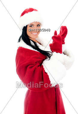 Young Woman In Santa Clause Costume. Isolated On White Stock Photo