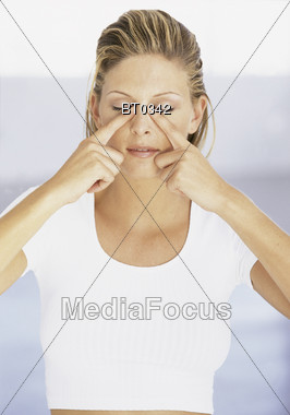Young Woman Stress Relief Stock Photo