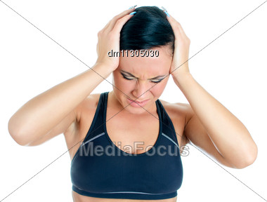 Young Woman Suffering From Headache. Isolated On White Stock Photo