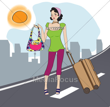 Young Woman With Suitcase, Illustration In Vector Format Stock Photo