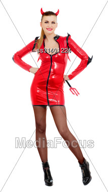 Young Woman Is Wearing A Sexy Devil Costume Stock Photo