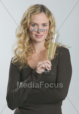 Young Woman with Champagne Glass Stock Photo