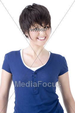 Young woman with short hair smiling Stock Photo