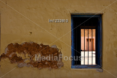 Zanzibar Prison Island And A Old Window Open Stock Photo