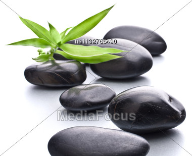 Zen Pebbles. Stone Spa And Healthcare Concept Stock Photo