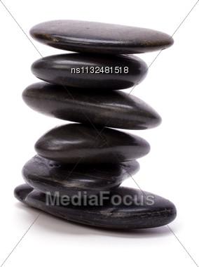 Zen Stones Isolated On White Background Stock Photo