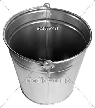 Zinc Bucket Isolated On White Stock Photo