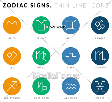Zodiac Signs. Thin Line Vector Icons. Illustration On White Background Stock Photo
