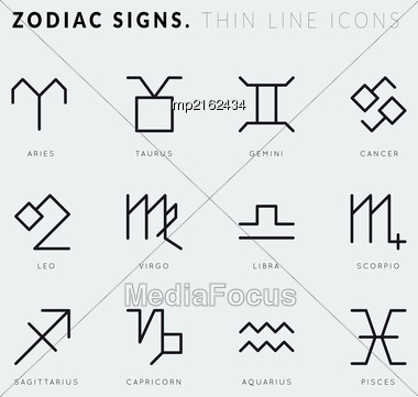 Zodiac Signs. Thin Line Vector Icons. Illustration On Grey Background Stock Photo