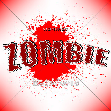 Zombie Title With Red Spot On White Background Stock Photo