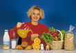raw fruit happiness health people blonde - stock photography