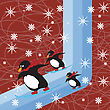 Abstract Winter Scene With Arctic Penguings