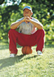 Stock Photo : Elder Stock Photography: Active Senior Sitting on Basketball