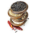 Oriental Stock Image: Assortment Of Rice In Wooden Bowls