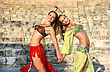 Beautiful Belly Dancers On The Ancient Stairs Of Kourion Amphitheatre In Cyprus stock photo
