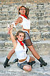 Stock Photo : Aerobics Stock Image: Beautiful Modern Dancers On The Ancient Stairs Of Kourion Amphitheatre In Cyprus