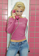 Blonde Teenage Girl with Pink Phone