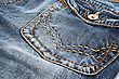 Blue Jeans Pocket Closeup Picture. stock photo