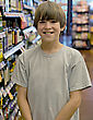 Boy in Grocery Store stock photo
