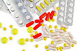 Capsules Are Red, Yellow And Pink, White Pills In Packages And Various Sizes Yellow Pills