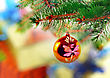 Celebrate Christmas And New Year Decoration-balls On Fir Tree stock photography