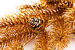 Christmas Tree Golden Branch With Cone Closeup Image stock image