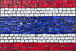 Close Up Of Old Vintage Mosaic Flag Of Thailand With Texture stock image