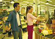 Adult Couple At Grocery Self-Checkout stock photo
