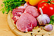 Stock Photo : Cut Pictures: Cuts Of Meat, Garlic, Tomato, Pepper Pots Of Different, Parsley And Dill On A Wooden Board
