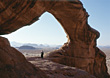 Landscape Desert Bedouin Under Rock Arch, Jordan stock photo