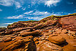 Eroded Red Rock Cliff In New Brunswick Canada stock photo