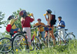 Exercise Family on Biking Trip stock image