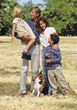 Family Outdoors with Dog