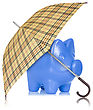 Financial Protection. Piggy Bank With Umbrella On White Background stock photography