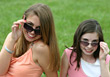 Stock Photo : Smiling Stock Image: Girls with Sunglasses Close-up