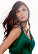 Face Glamour Portrait Of Brunette Woman In Green Dress stock image