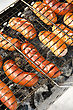 Stock Photo : Grill Stock Photo: Grilled Sausages On Grill, With Smoke Above It