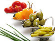 Stock Photo : Dish Stock Photography: Hot Pepper,Olives,Tomatoes In Small Dishes ,Close Up