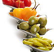 Stock Photo : Dish Stock Image: Hot Pepper,Olives,Tomatoes In Small Dishes ,Close Up