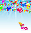 Illustration Carnival Background With Flags, Confetti, Balloons, Mask - Vector