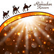 Illustration Celebration Card With Camels For Ramadan Kareem - Vector