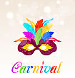 Illustration Colorful Carnival Mask With Feathers With Text - Vector