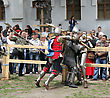 KAMYANETS-PODILSKY- JUNE 2: Knights Battle During Forpost (The Outpost) Festival Of Medieval Culture On June 2, Ukraine - stock photography