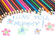 Kid's Mothers Day Drawing And Colorful Pencils - stock image