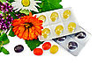 Lozenges Cough Multicolored, Sprig Of Mint, Sage Leaf, Chamomile, Calendula, Oregano - stock image