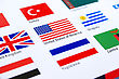 Mix Flags On White Background. stock photo