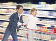 Mom and Son Grocery Shopping stock image