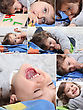 Expressions Montage Of Happy Little Boy At Home stock photography