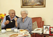 Older Couple Having Cake stock image